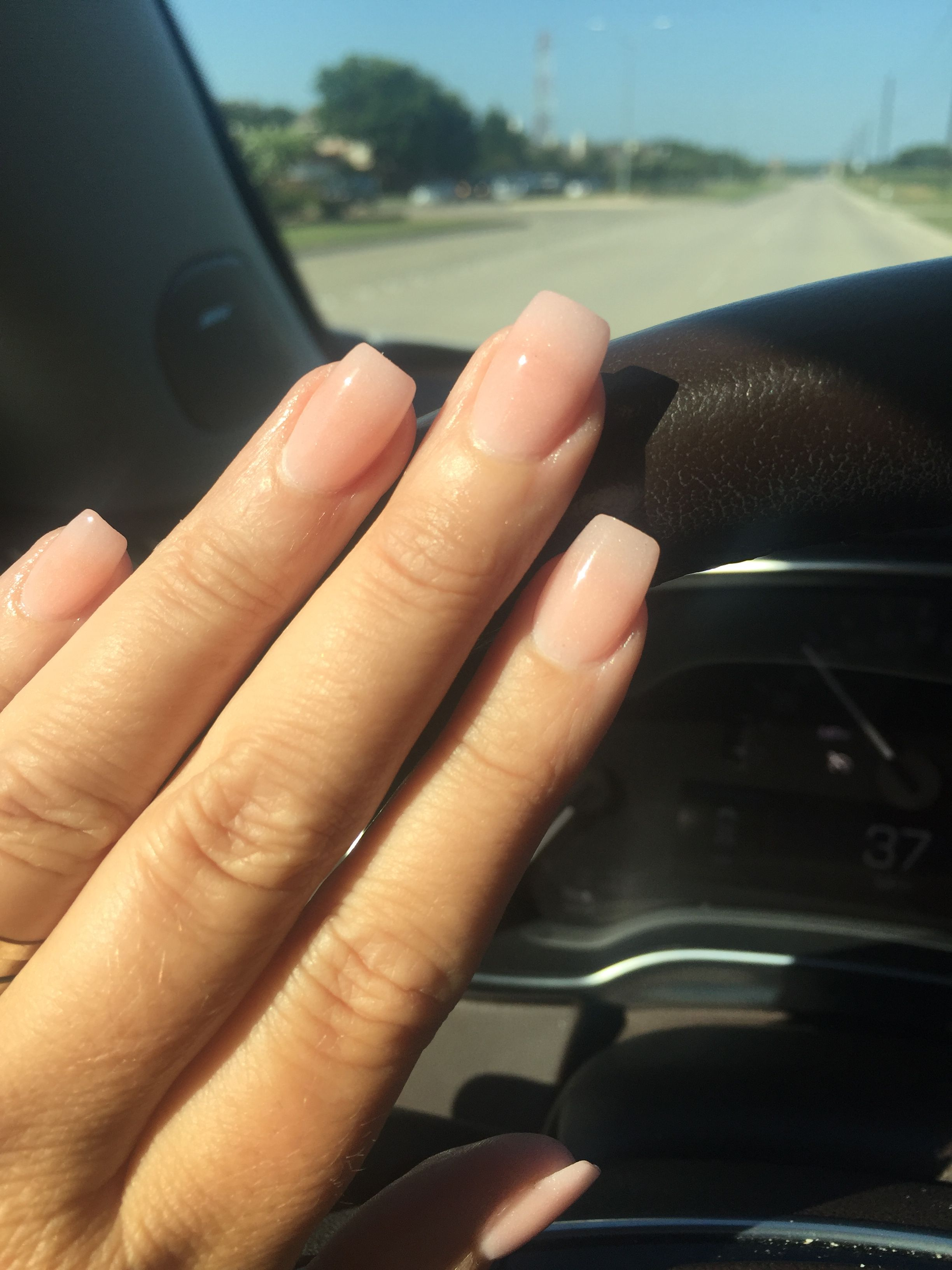 Natural Nails Powder Dipped Color 207 Coffin Shape Rounded Dipped Nails Powder Nails Natural Nails