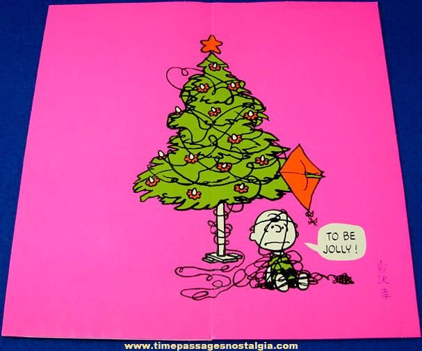vintage 1970 charles schulz peanuts hallmark christmas greeting card neon pink charlie brown