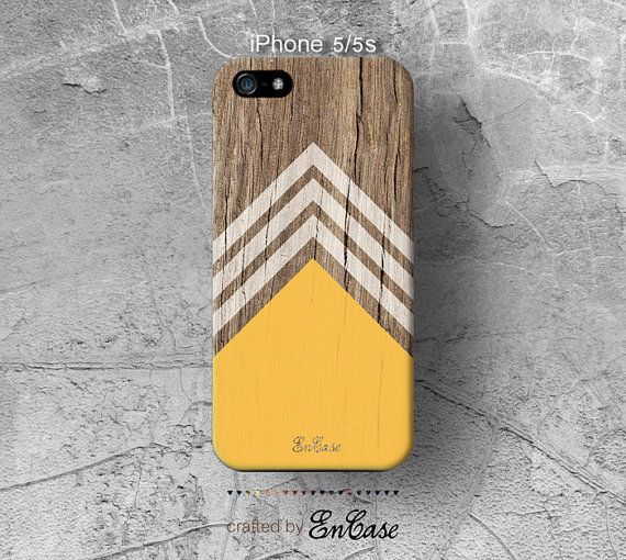 Yellow white chevron triangle Geometric on wood print by EnCaseM, $19.99