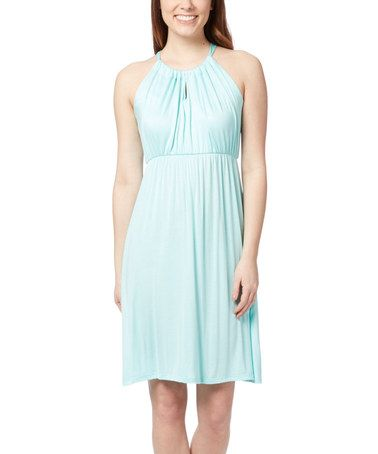 This Mint Tie-Back Empire-Waist Dress is perfect! #zulilyfinds