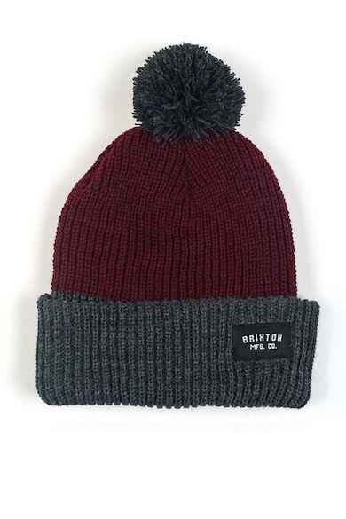 156f609185 heather grey and burgundy pom pom beanie | Fashion Inspiration in ...
