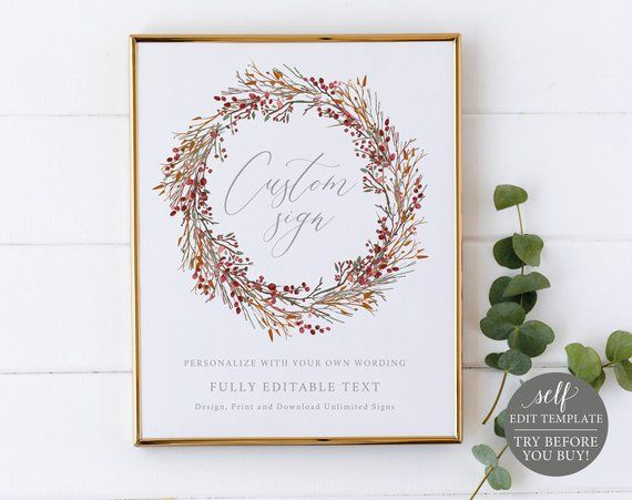 MAKE Your OWN Wedding Signs Template, 100 Editable, Try Before You
