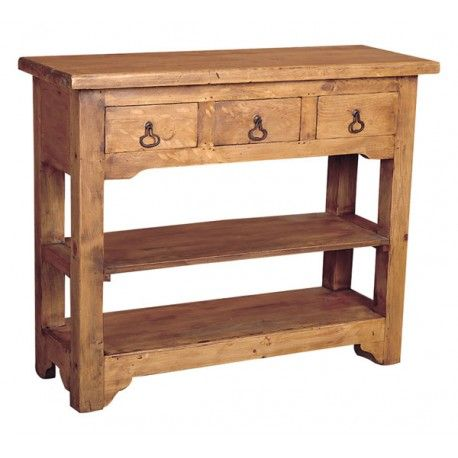 Rustic Pine Side Table- 3 Drawers | Rustic Furniture | Rustic ...