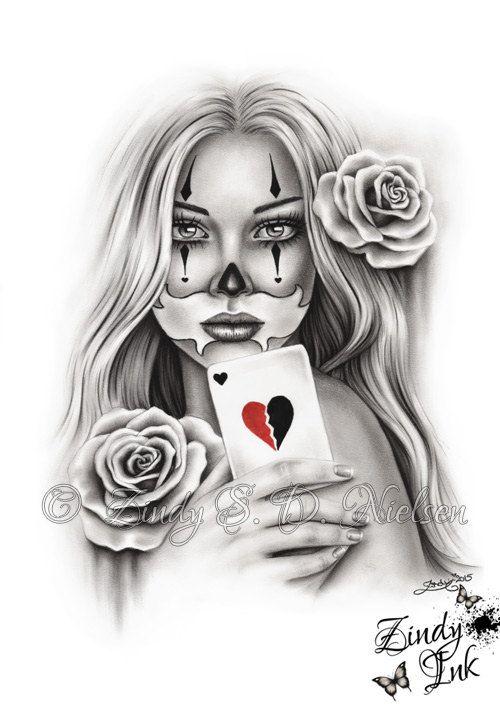 01838b89abd0a HeartBreaker Chicano Tattoo Clown Girl Playing Card Rose Heart Art Print  Glossy Emo Fantasy Girl Zin