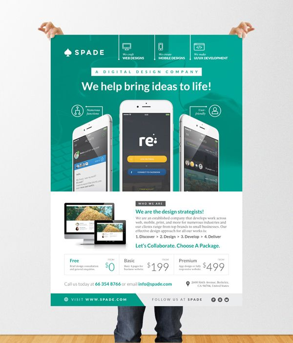 Design services web app graphic flyer poster template for Interior design web app