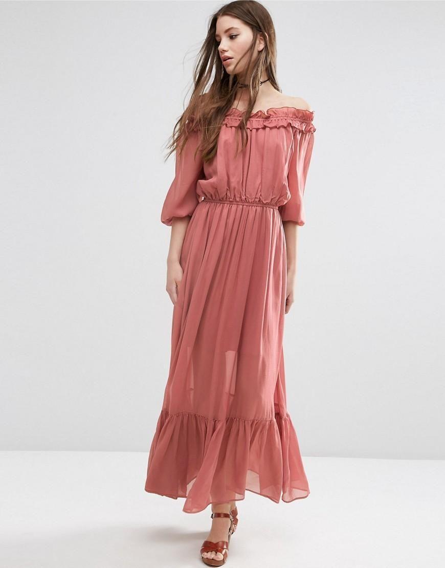 Off Shoulder Maxi Dress With Frill Tiers | Maxi dresses, Shoulder ...