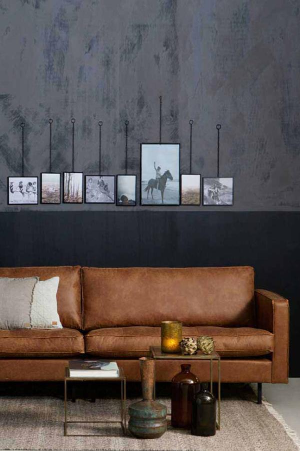3 Sitzer Sofa Macaza In Cognac Braun Recyclingleder In