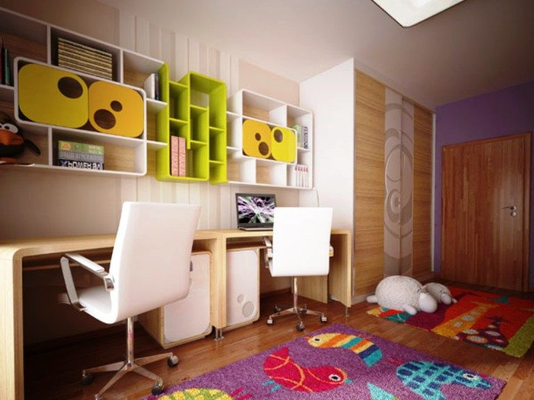 Kids Room: Modern Plywood Study Table With Colourful Book Selvhing And  Laminate Floors Also White Swivel Chairs Design Ideas: Original Childrenu0027s  Bedroom ...
