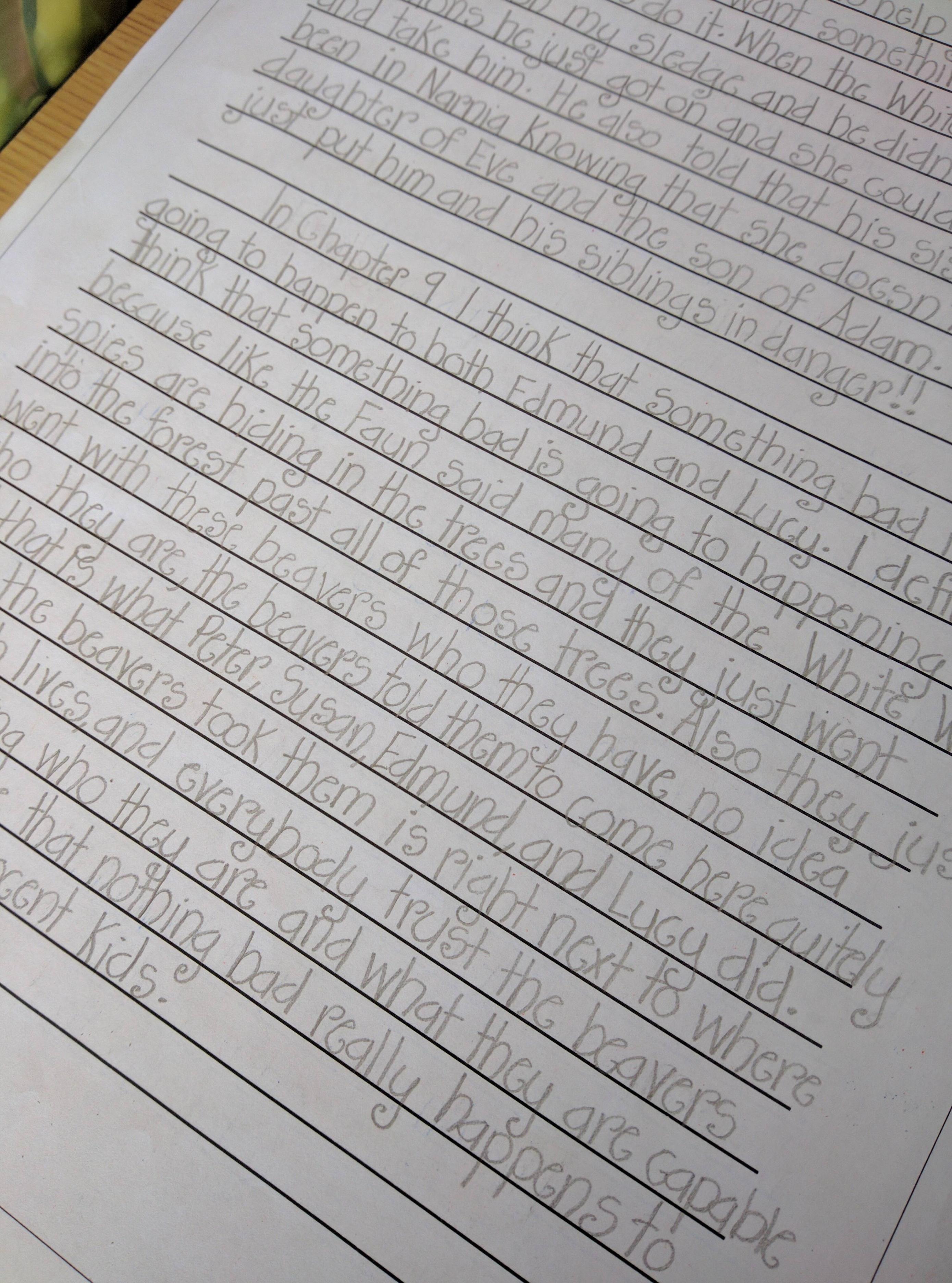 One Of My 5th Grader S Handwriting R Penmanship
