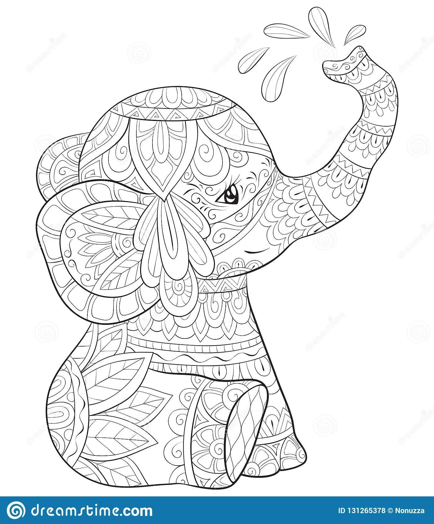 Coloring Pages Of Elephants Coloring Book Coloring Book Tremendous Elephant Buku Mewarnai Pola Zentangle Lukisan Seni