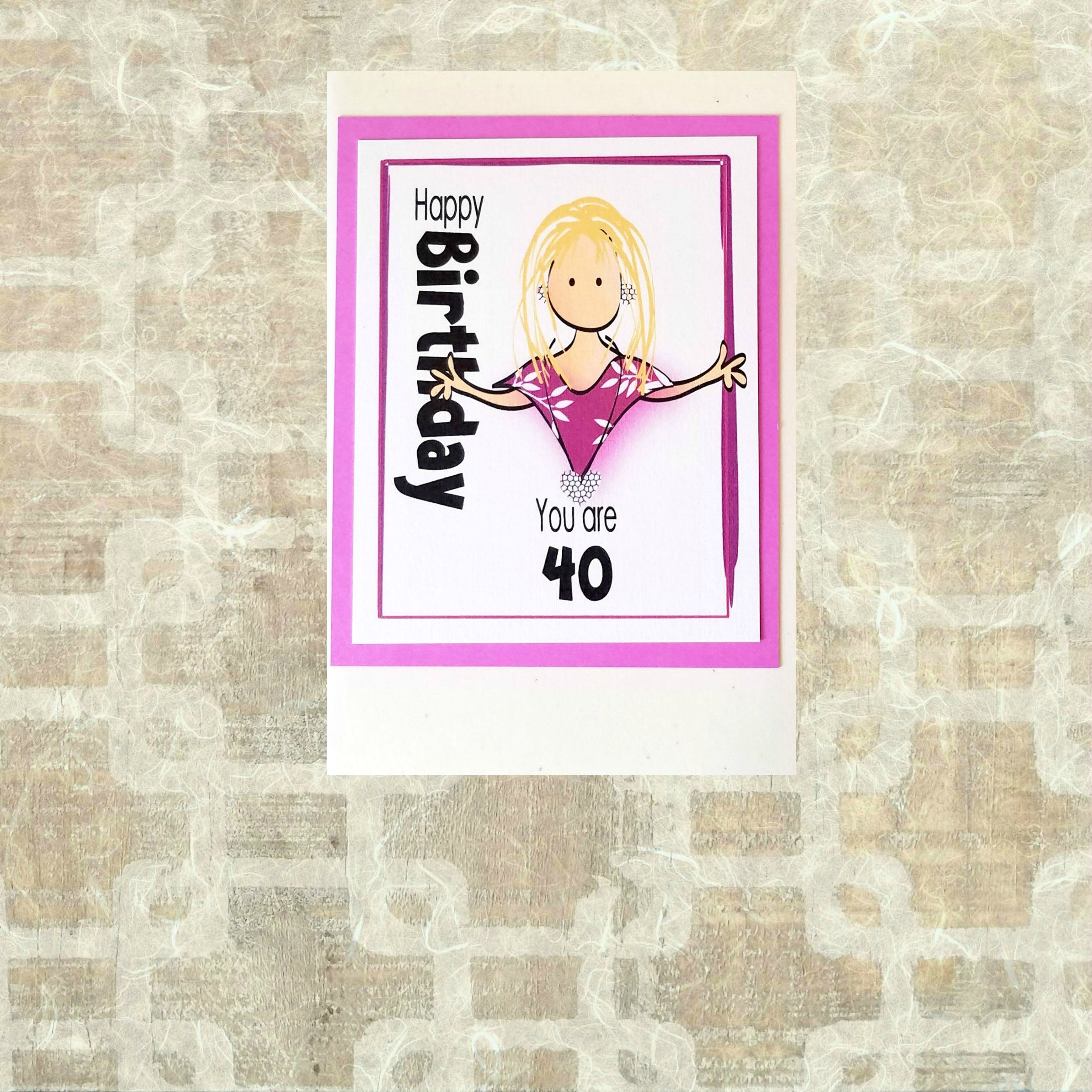 Funny 40th birthday card for her snarky 40 happy