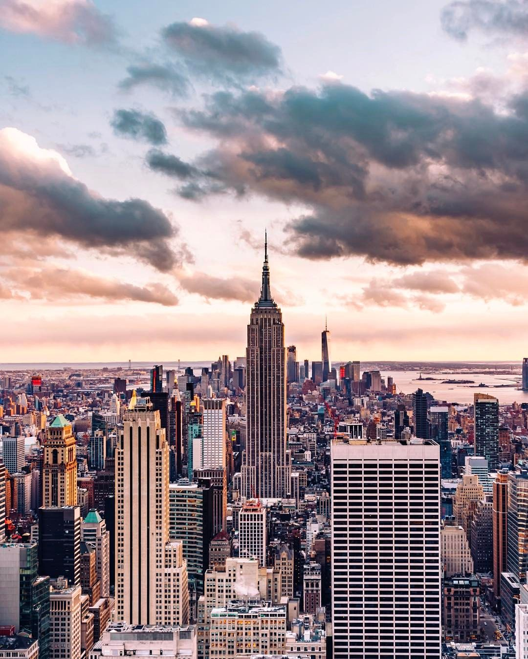 "Building Top Wallpapers: ""The Empire State Building At Sunset Shot From The Top Of"