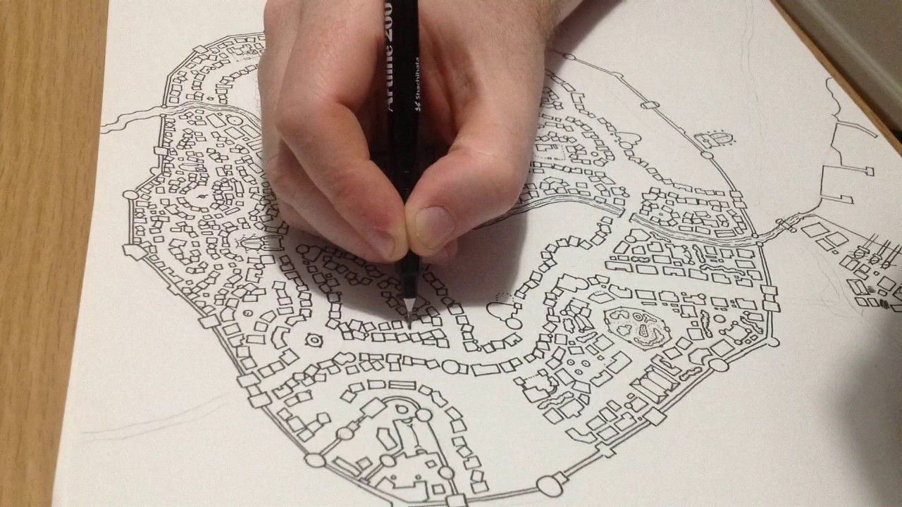 Hand Drawn Medieval City Map Time Lapse D D How To Draw Hands Map Tattoos Map