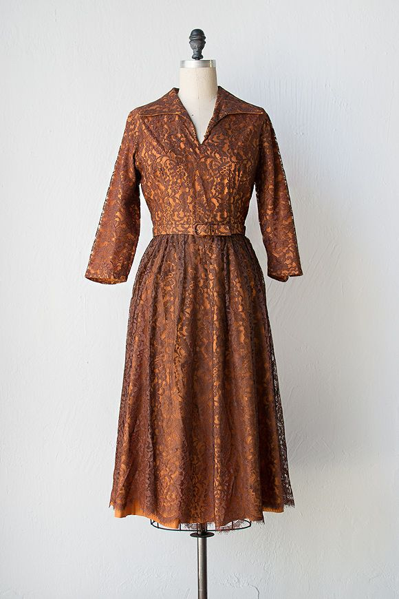 vintage 1950s brown lace overlay dress