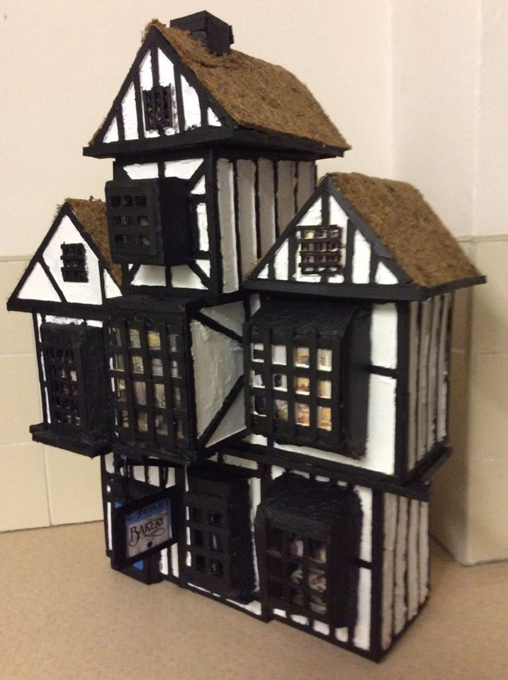 Tudor house model made from boxes and lollipop sticks - What makes a house a tudor ...