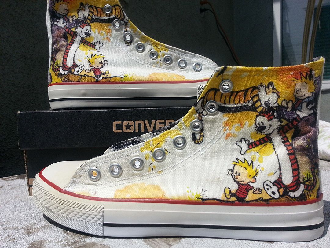 Calvin and Hobbes Custom Converse All Stars by ArkhamPrints on Etsy https://www.etsy.com/listing/186560688/calvin-and-hobbes-custom-converse-all