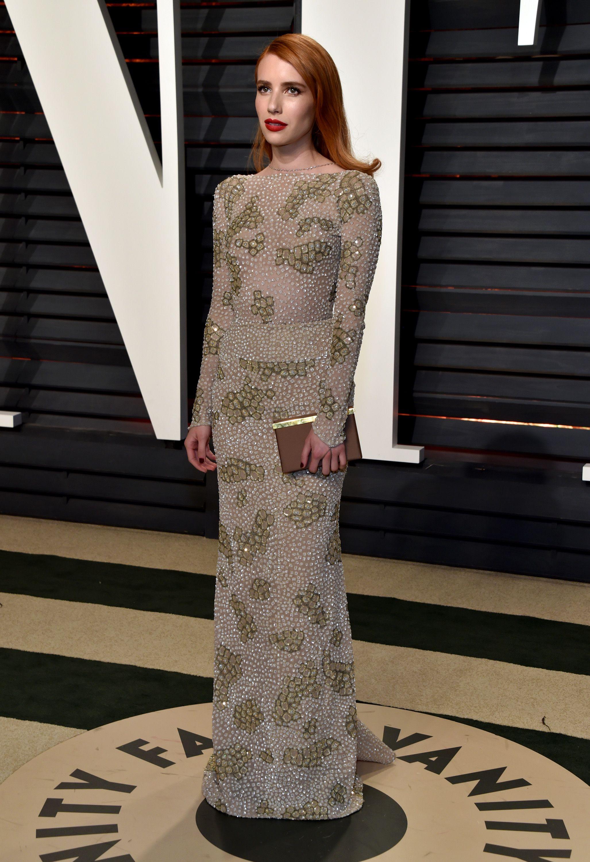 Emma Roberts in Armani Privé | Vanity Fair Oscar Party 2017 | Red ...