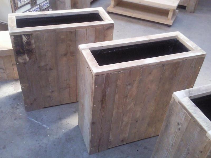 Hoge bloembak voor terras balkon van wooddesign4u op for Balkon bloembak