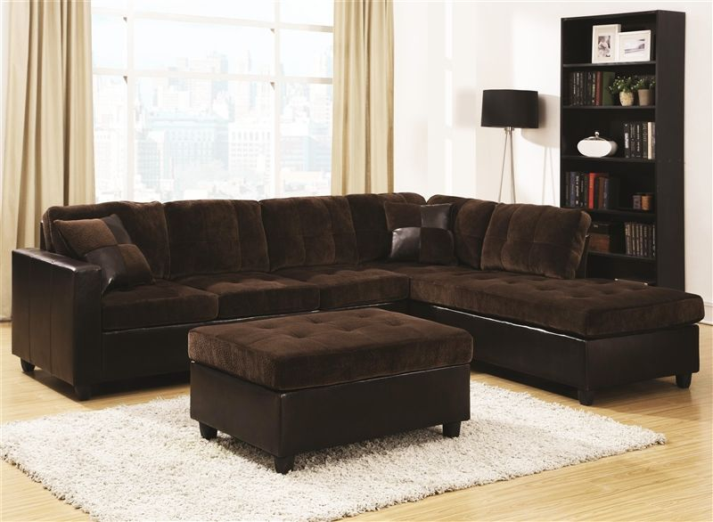 Mallory Casual Sectional In Brown Upholstery Coaster 505645 In 2020 Living Room Sets Sectional Sofa Furniture
