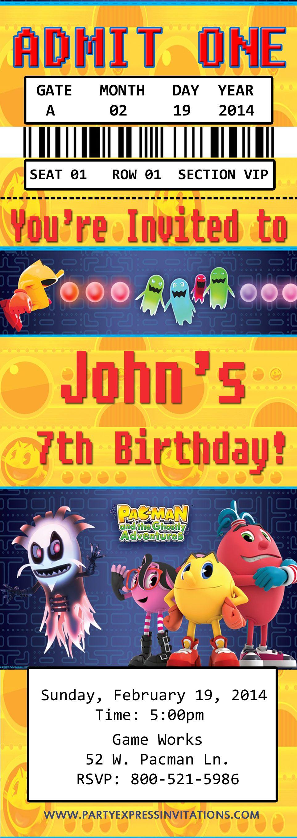Nintendo Pac Man Birthday Ticket Invitations 8