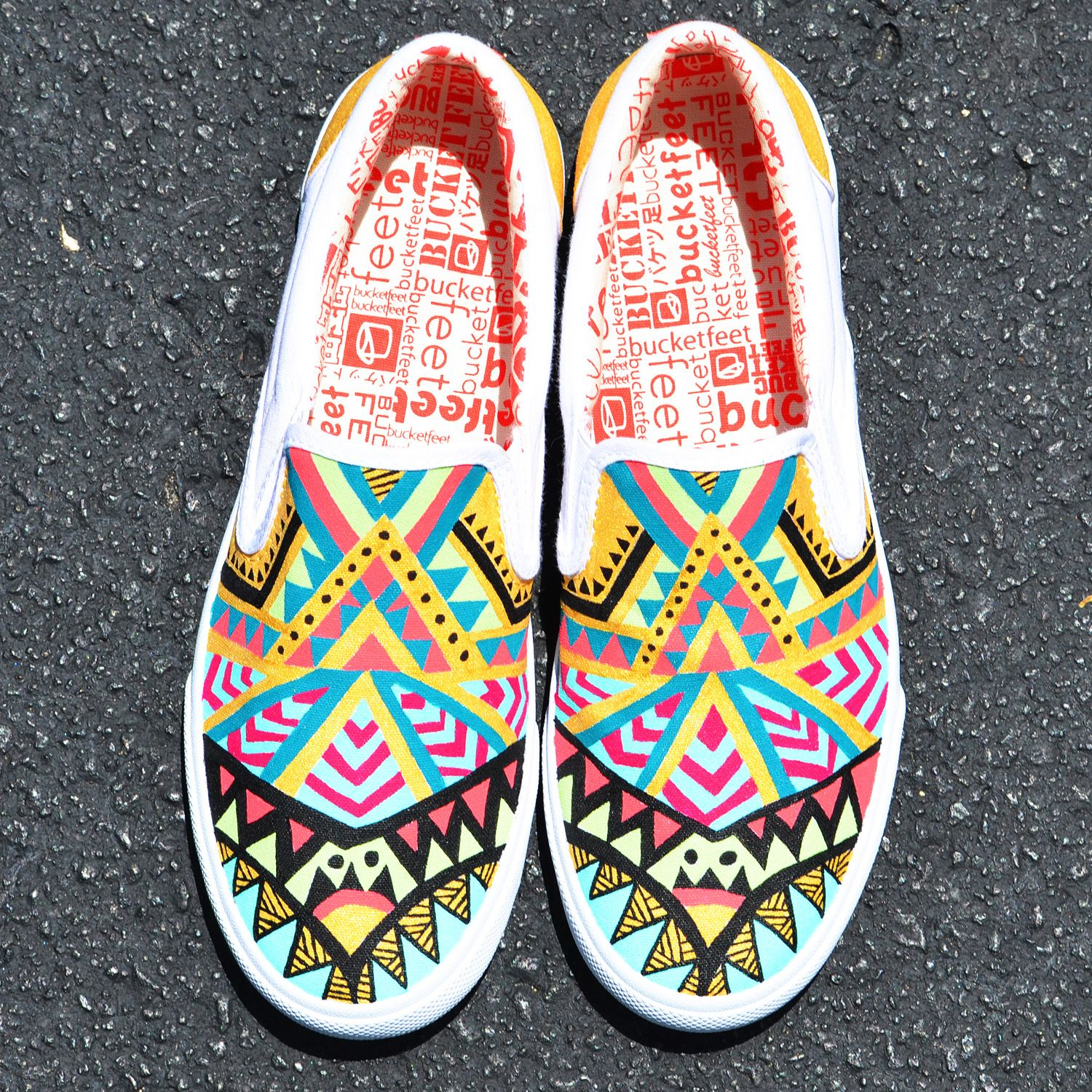 a52968bee55646 Custom DIY  bucketfeet slip-ons painted using multi-surface acrylic paint.  Click on image for another of my Bucketfeet designs.