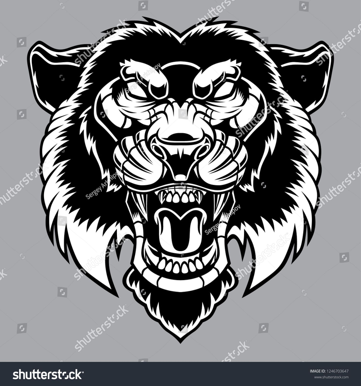 Angry panther head logo. Vector illustration.