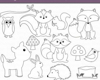 Woodland Animals OUTLINE Digital Art Set Clipart Commercial Use Clip Animal Forest Stamps