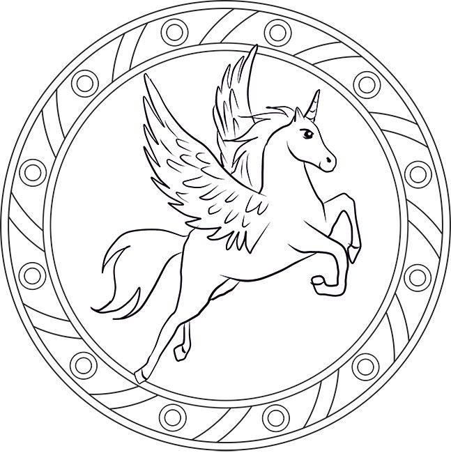 Pegasus - Mandala Ausmalbild | Mandalas | Pinterest | Ausmalbilder ...