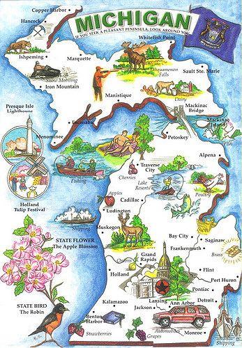 Michigan Map Postcard 4 Usa Map Postcard Collection Pinterest