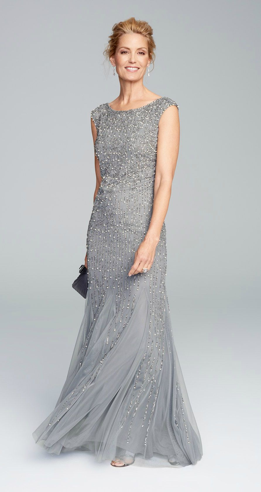 Lace Sheath Grey Bateau Cap Sleeves Short Mother of The Bride ...