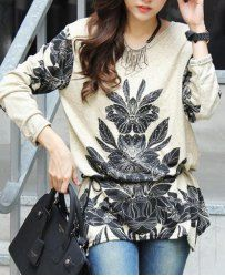 Stylish Scoop Neck Long Sleeve Floral Print Knitwear with Belt For Women