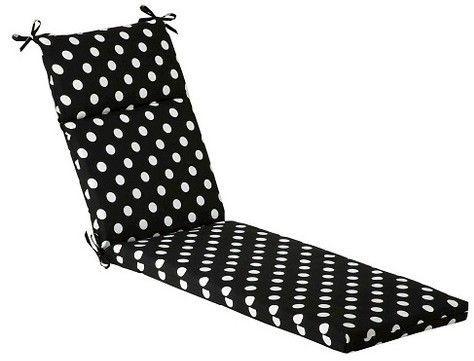 Outdoor Chaise Lounge Cushion Black White Polka Dot