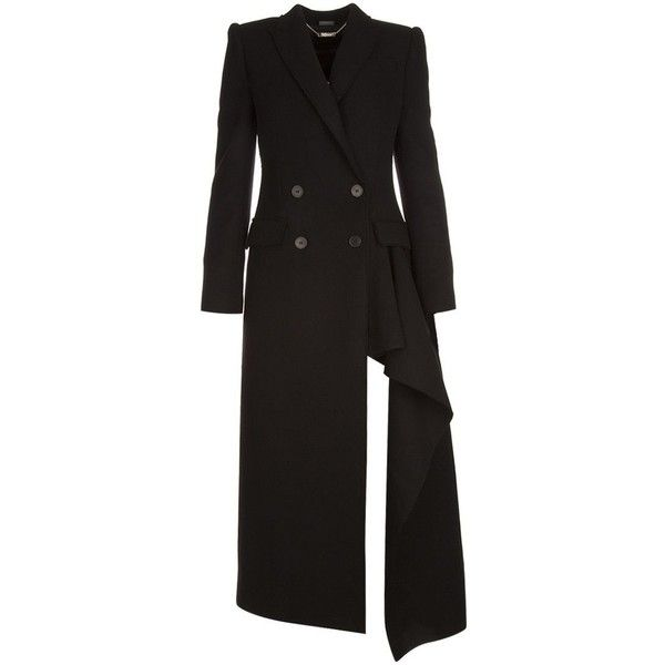 Coat (€3.375) ❤ liked on Polyvore featuring outerwear, coats, double breasted coat, peak coat, wool cashmere coat, alexander mcqueen coat and cashmere coat