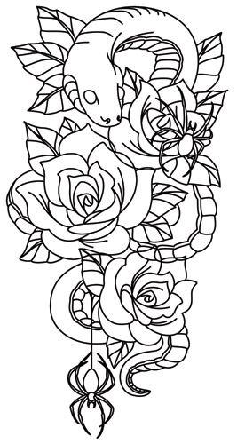 Spooky Snake Sleeve Paper Embroidery Tattoo Sleeve Designs Sleeve Tattoos