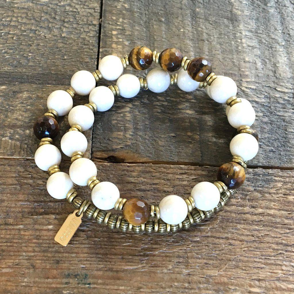 Change And Prosperity Riverstone Tigers Eye 27 Bead Wrist Mala Bracelet Lovepray Jewelry Malas
