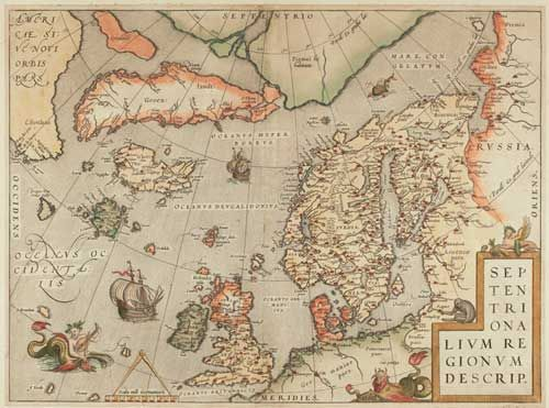 #ORTELIUS, Abraham. Septentrionalium Regionum Descrip. Antwerp, 1574, Latin edition. Original colour. 360 x 495mm. Window mounted on old paper. A classic collector's antique map of Northern Europe after Olaus Magnus and Zeno, showing Britain and Scandinavia in detail, but also showing Greenland, part of North America and the mythical islands of #Frisland, #Brazil & #St.Brendan. '#Drogeo' is believed to represent Newfoundland. In the Arctic is a note 'Pigmiys live here'!