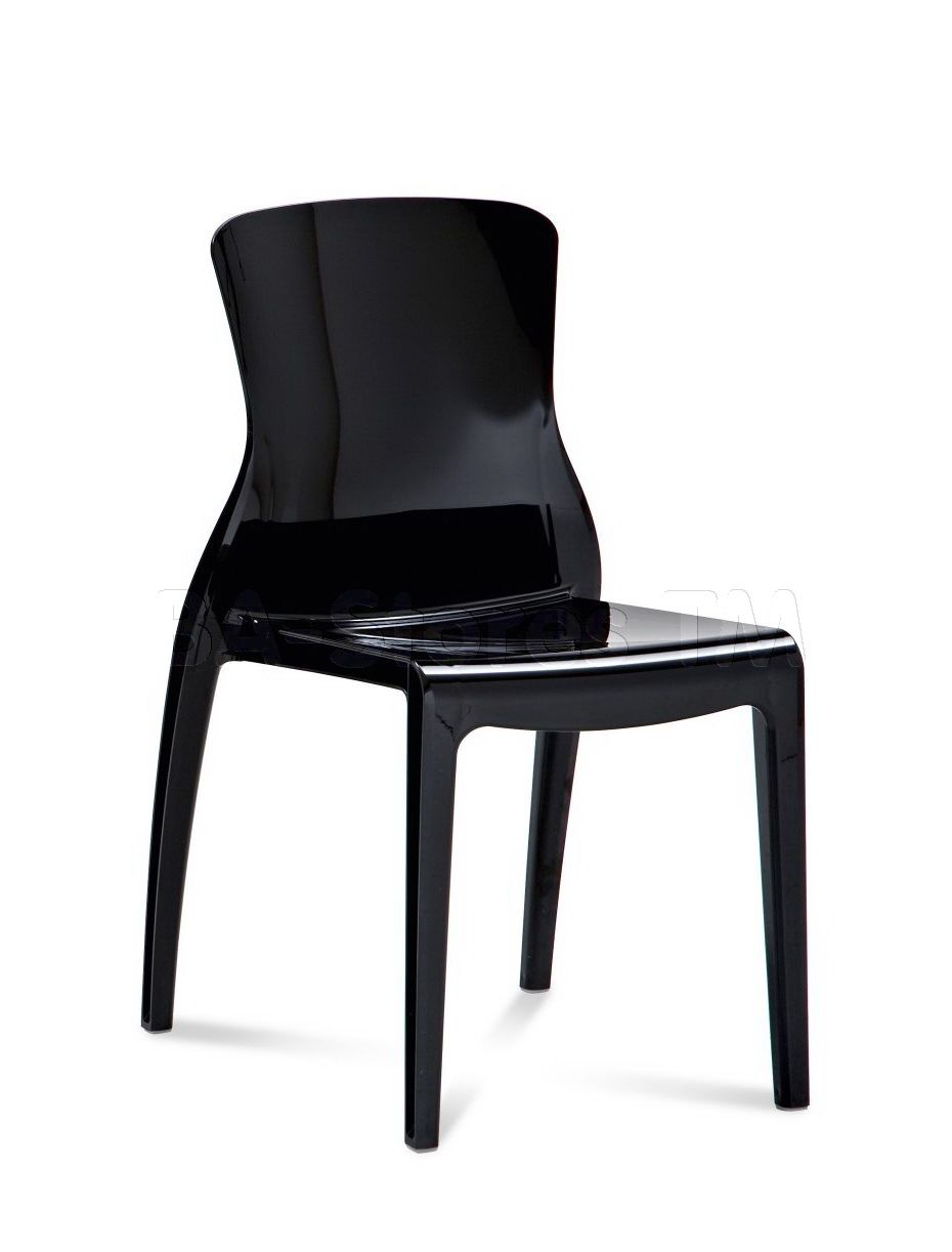 Crystal stacking dining chair in black by domitalia