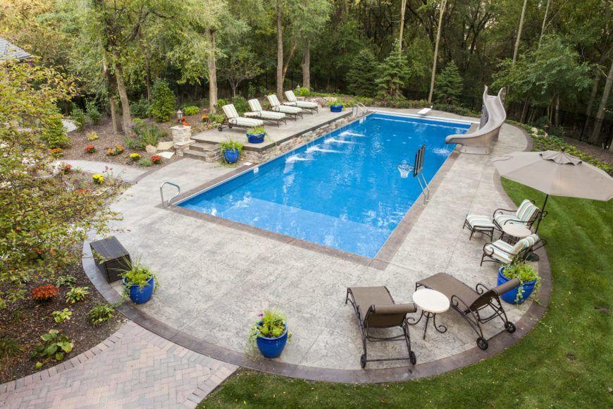 101 Swimming Pool Designs And Types Photos In 2020 Inground Pool Landscaping Rectangle Pool Pools Backyard Inground