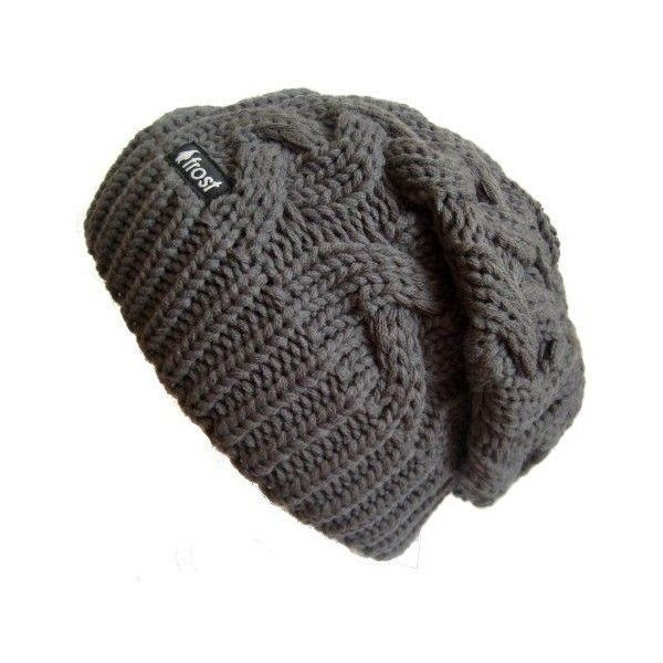 Frost Hats Winter Hat for Women CHARCOAL Slouchy Beanie Cable Hat... via  Polyvore featuring accessories 3a0786f5a3d