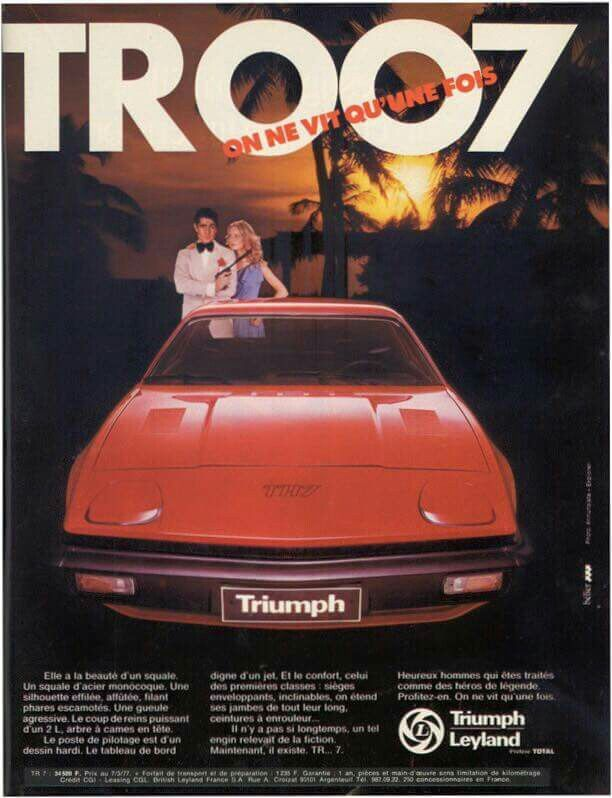 Triumph TR7 advert from France