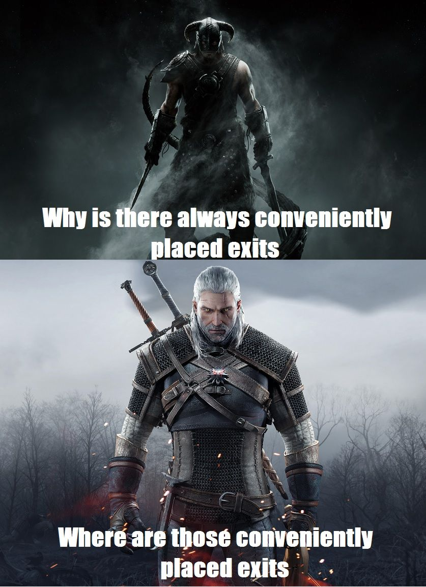 Skyrim Caves Vs Witcher Caves The Witcher Skyrim Nerd Memes