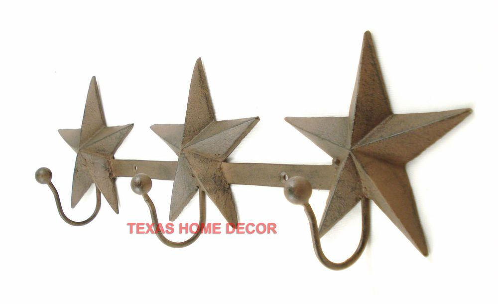 Star 3 Key Hooks Holder Cast Iron Rustic Metal Western Texas Hook Wall Decor