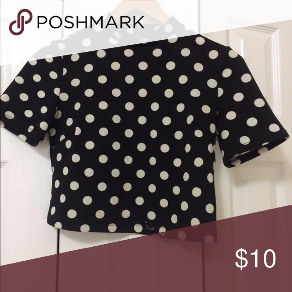 d3fa25290b3e22 Black  White poke a dot shirt