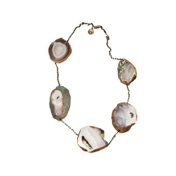 Unearthen Geode necklace (30.420 RUB) ❤ liked on Polyvore featuring jewelry, necklaces, accessories, white, geode jewelry, rectangle necklace, unearthen, cable chain necklace and long white necklace