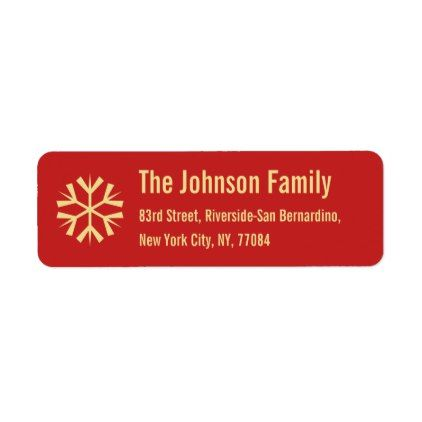 red faux gold snowflake christmas holiday address label holiday