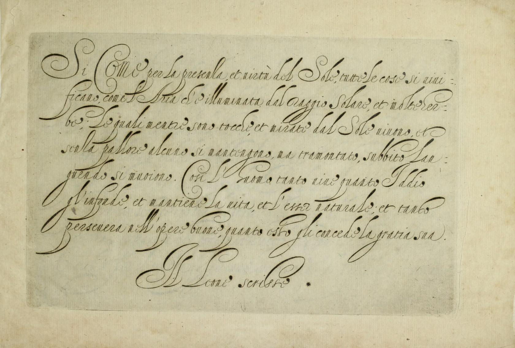 Chancery italian script sample from examples of the