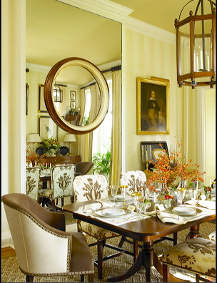 Beautiful Dining Room with small round mirror hung over large wall ...
