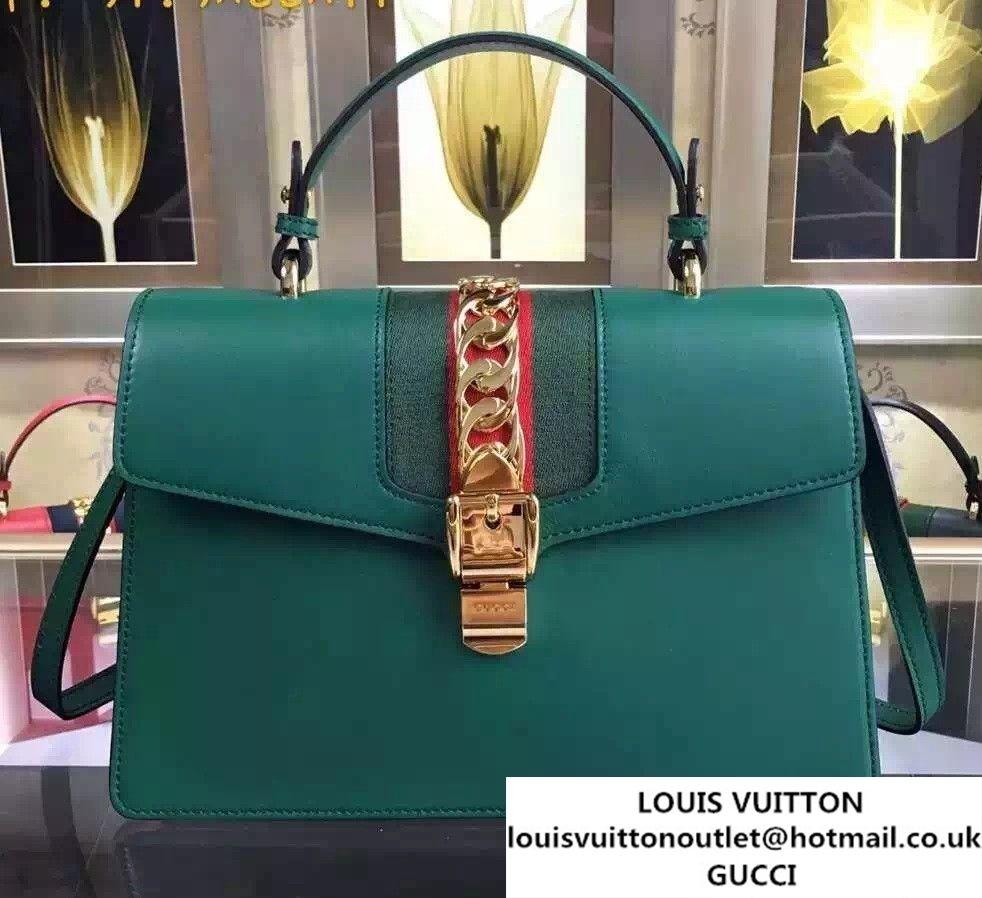 d9bb5b4f26a Gucci Sylvie Leather Top Handle Medium Bag 431665 Green 2016