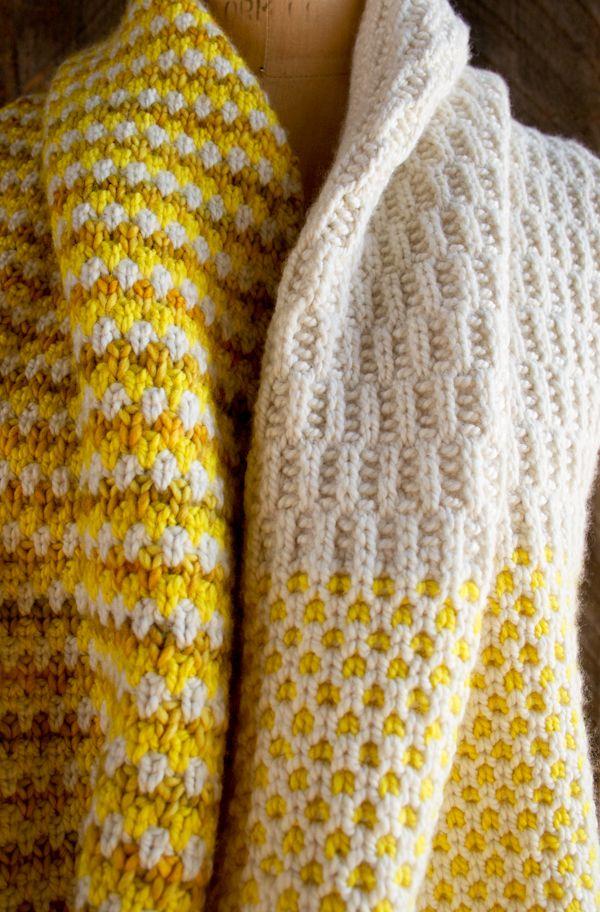 different stitches scarf | Strickerei | Pinterest | Stricken, Schals ...
