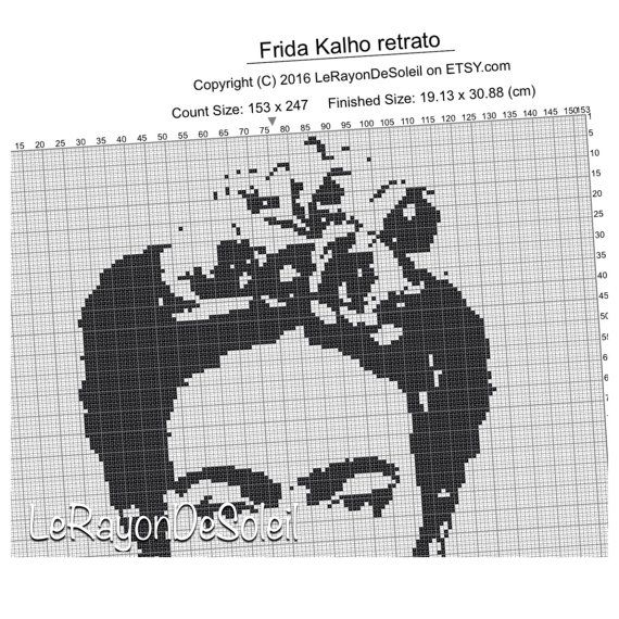 Frida Kahlo Modern cross stitch pattern portrait - PDF instant ...